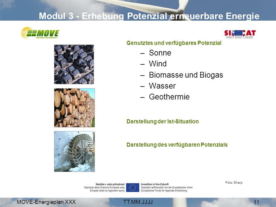 MOVE-Energieplan XXXTT.MM.JJJJ 11 Modul 3 - Erhebung Potenzial erneuerbare Energie Genutztes und verfügbares Potenzial –Sonne –Wind –Biomasse und Biogas –Wasser –Geothermie Darstellung der Ist-Situation Darstellung des verfügbaren Potenzials Foto: Sharp