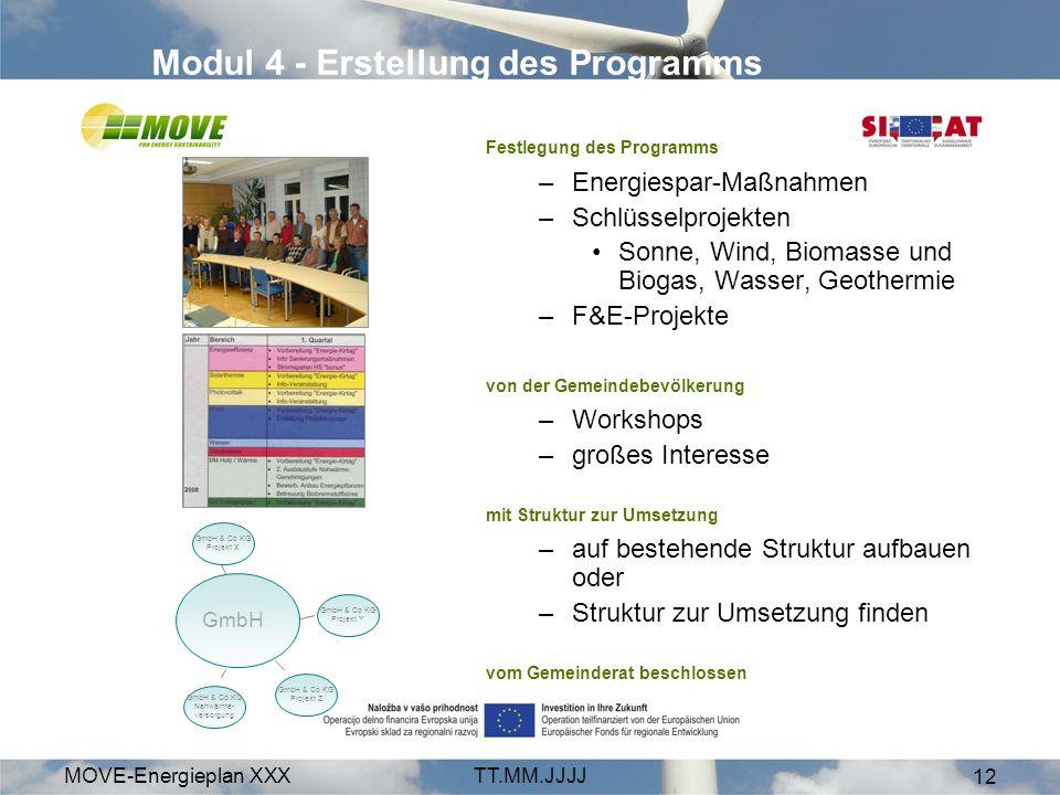 MOVE-Energieplan XXXTT.MM.JJJJ 12 Modul 4 - Erstellung des Programms Festlegung des Programms –Energiespar-Maßnahmen –Schlüsselprojekten Sonne, Wind, Biomasse und Biogas, Wasser, Geothermie –F&E-Projekte von der Gemeindebevölkerung –Workshops –großes Interesse mit Struktur zur Umsetzung –auf bestehende Struktur aufbauen oder –Struktur zur Umsetzung finden vom Gemeinderat beschlossen GmbH GmbH & Co KG Projekt Z GmbH & Co KG Nahwärme- versorgung GmbH & Co KG Projekt X GmbH & Co KG Projekt Y