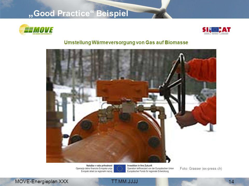 MOVE-Energieplan XXXTT.MM.JJJJ 14 Good Practice Beispiel Foto: Grasser (ex-press.ch) Umstellung Wärmeversorgung von Gas auf Biomasse