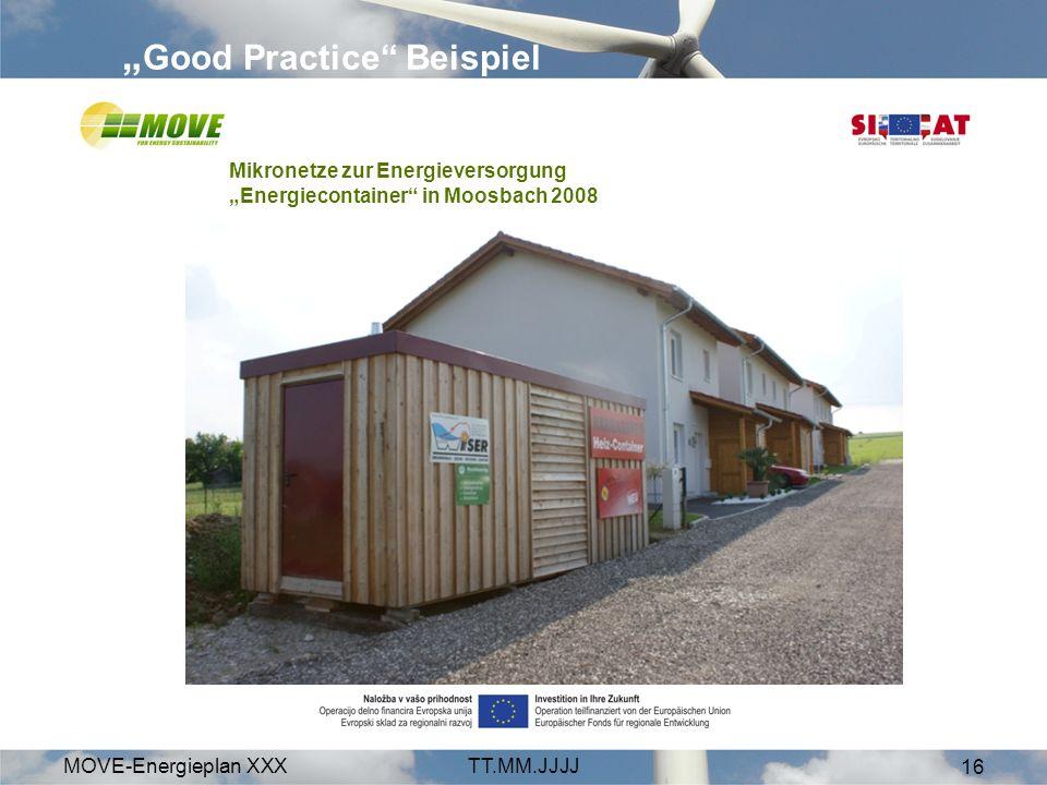 MOVE-Energieplan XXXTT.MM.JJJJ 16 Good Practice Beispiel Mikronetze zur Energieversorgung Energiecontainer in Moosbach 2008