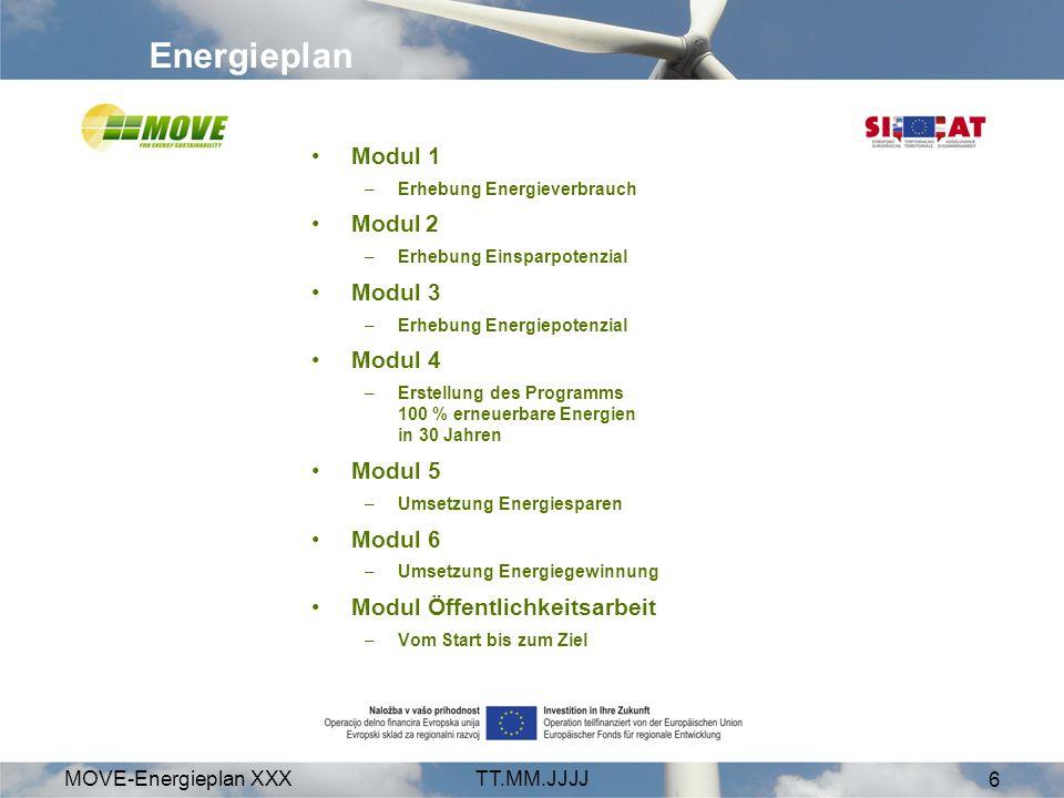 MOVE-Energieplan XXXTT.MM.JJJJ 6 Energieplan Modul 1 –Erhebung Energieverbrauch Modul 2 –Erhebung Einsparpotenzial Modul 3 –Erhebung Energiepotenzial Modul 4 –Erstellung des Programms 100 % erneuerbare Energien in 30 Jahren Modul 5 –Umsetzung Energiesparen Modul 6 –Umsetzung Energiegewinnung Modul Öffentlichkeitsarbeit –Vom Start bis zum Ziel