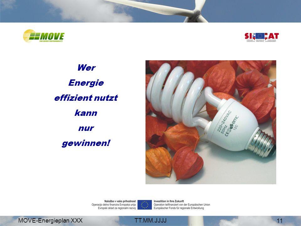 MOVE-Energieplan XXXTT.MM.JJJJ 11 Wer Energie effizient nutzt kann nur gewinnen!