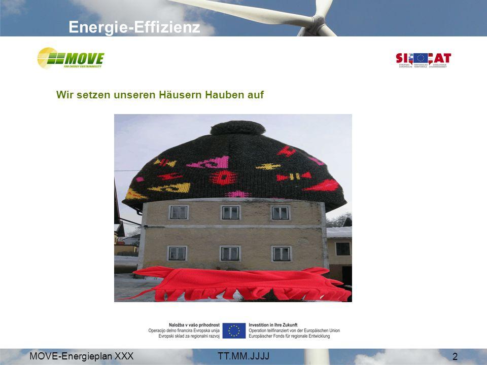 MOVE-Energieplan XXXTT.MM.JJJJ 2 Energie-Effizienz Wir setzen unseren Häusern Hauben auf