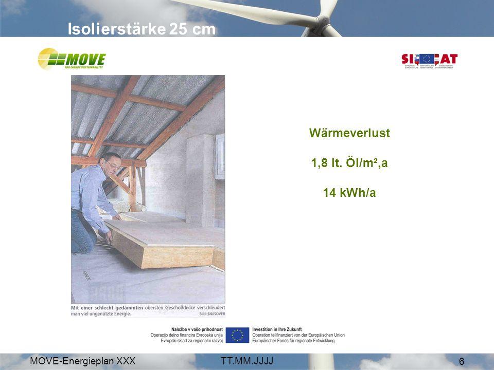 MOVE-Energieplan XXXTT.MM.JJJJ 7 Verluste senken - sparen Vorher 10 /m²,a 131 kWh/a Nachher 1 /m²,a 14 kWh/a Einsparung 9 /m²,a U-Wert: 1,4 W/m², KU-Wert: 0,15 W/m², K