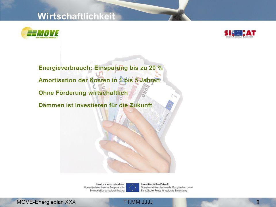 MOVE-Energieplan XXXTT.MM.JJJJ 8 Wirtschaftlichkeit Energieverbrauch: Einsparung bis zu 20 % Amortisation der Kosten in 1 bis 5 Jahren Ohne Förderung wirtschaftlich Dämmen ist Investieren für die Zukunft