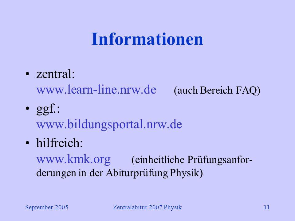 September 2005Zentralabitur 2007 Physik11 Informationen zentral: www.learn-line.nrw.de (auch Bereich FAQ) ggf.: www.bildungsportal.nrw.de hilfreich: www.kmk.org (einheitliche Prüfungsanfor- derungen in der Abiturprüfung Physik)