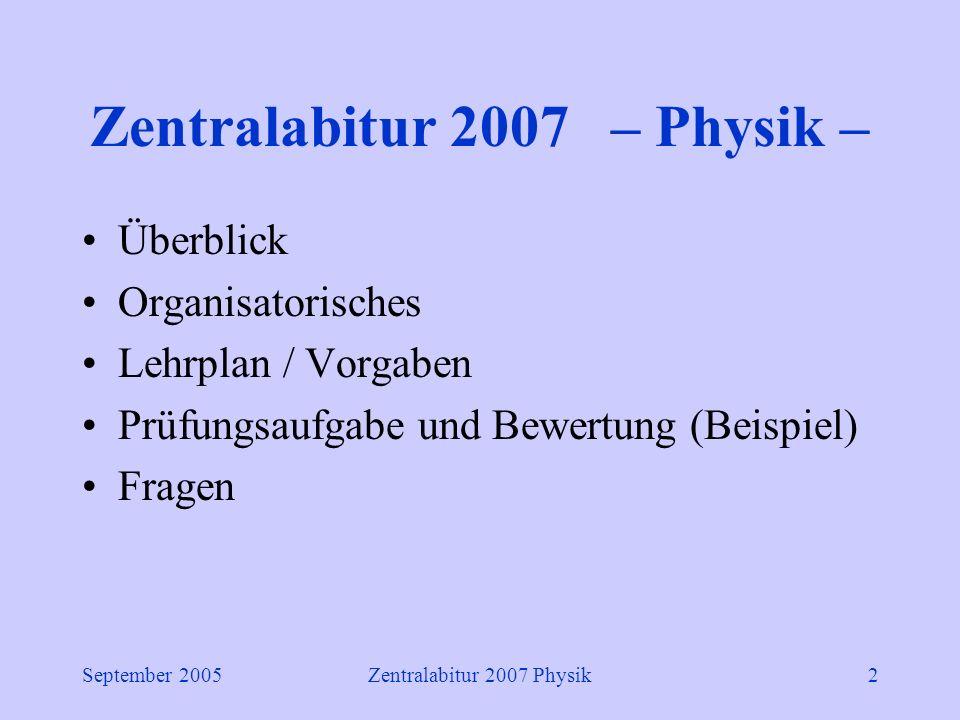 September 2005Zentralabitur 2007 Physik2 Zentralabitur 2007 – Physik – Überblick Organisatorisches Lehrplan / Vorgaben Prüfungsaufgabe und Bewertung (Beispiel) Fragen