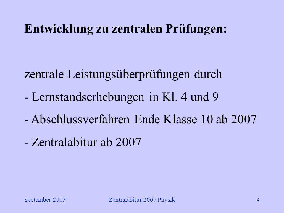 September 2005Zentralabitur 2007 Physik4 Entwicklung zu zentralen Prüfungen: zentrale Leistungsüberprüfungen durch - Lernstandserhebungen in Kl.