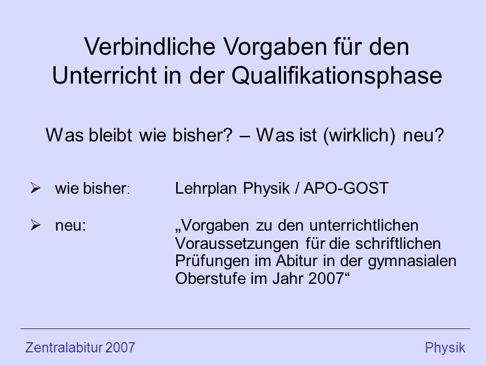 Was bleibt wie bisher? – Was ist (wirklich) neu? wie bisher : Lehrplan Physik / APO-GOST neu: Vorgaben zu den unterrichtlichen Voraussetzungen für die
