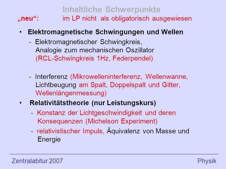 Inhaltliche Schwerpunkte neu: im LP nicht als obligatorisch ausgewiesen Elektromagnetische Schwingungen und Wellen - Elektromagnetischer Schwingkreis, Analogie zum mechanischen Oszillator (RCL-Schwingkreis 1Hz, Federpendel) - Interferenz (Mikrowelleninterferenz, Wellenwanne, Lichtbeugung am Spalt, Doppelspalt und Gitter, Wellenlängenmessung) Relativitätstheorie (nur Leistungskurs) - Konstanz der Lichtgeschwindigkeit und deren Konsequenzen (Michelson Experiment) - relativistischer Impuls, Äquivalenz von Masse und Energie Zentralabitur 2007 Physik