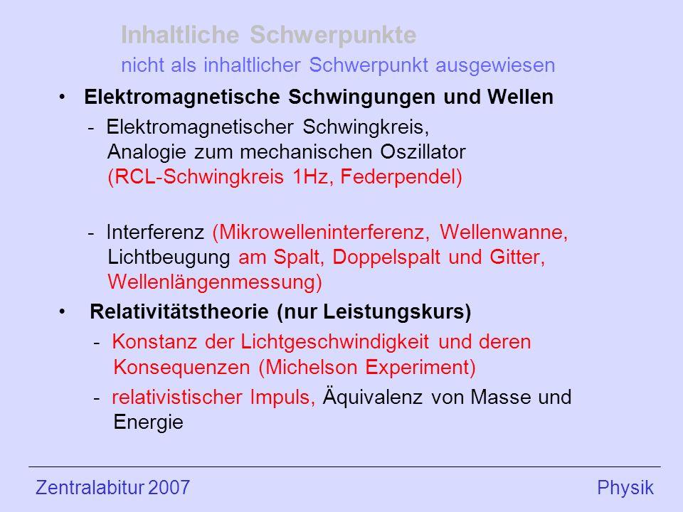 Inhaltliche Schwerpunkte nicht als inhaltlicher Schwerpunkt ausgewiesen Elektromagnetische Schwingungen und Wellen - Elektromagnetischer Schwingkreis, Analogie zum mechanischen Oszillator (RCL-Schwingkreis 1Hz, Federpendel) - Interferenz (Mikrowelleninterferenz, Wellenwanne, Lichtbeugung am Spalt, Doppelspalt und Gitter, Wellenlängenmessung) Relativitätstheorie (nur Leistungskurs) - Konstanz der Lichtgeschwindigkeit und deren Konsequenzen (Michelson Experiment) - relativistischer Impuls, Äquivalenz von Masse und Energie Zentralabitur 2007 Physik