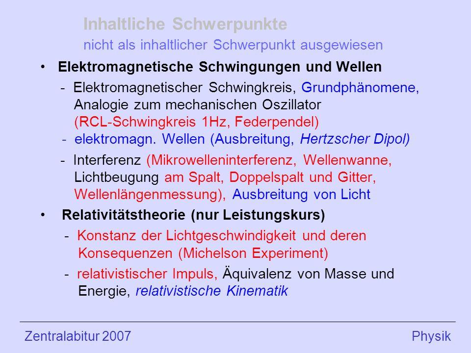 Inhaltliche Schwerpunkte nicht als inhaltlicher Schwerpunkt ausgewiesen Elektromagnetische Schwingungen und Wellen - Elektromagnetischer Schwingkreis, Grundphänomene, Analogie zum mechanischen Oszillator (RCL-Schwingkreis 1Hz, Federpendel) - elektromagn.