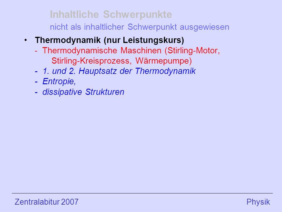 Inhaltliche Schwerpunkte nicht als inhaltlicher Schwerpunkt ausgewiesen Thermodynamik (nur Leistungskurs) - Thermodynamische Maschinen (Stirling-Motor, Stirling-Kreisprozess, Wärmepumpe) - 1.