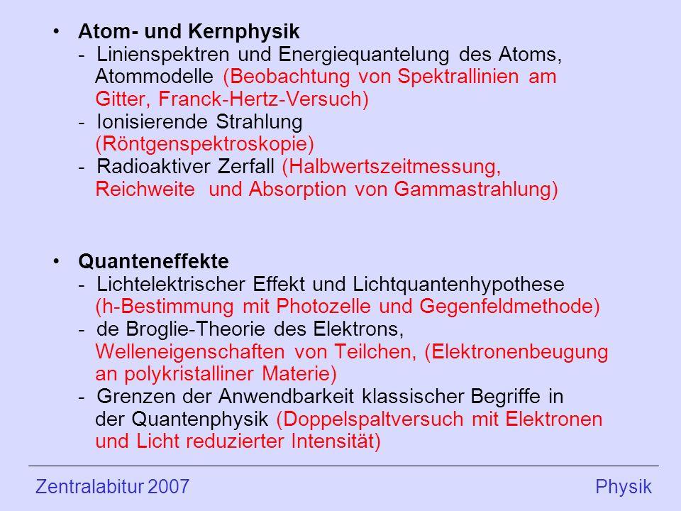 Atom- und Kernphysik - Linienspektren und Energiequantelung des Atoms, Atommodelle (Beobachtung von Spektrallinien am Gitter, Franck-Hertz-Versuch) - Ionisierende Strahlung (Röntgenspektroskopie) - Radioaktiver Zerfall (Halbwertszeitmessung, Reichweite und Absorption von Gammastrahlung) Quanteneffekte - Lichtelektrischer Effekt und Lichtquantenhypothese (h-Bestimmung mit Photozelle und Gegenfeldmethode) - de Broglie-Theorie des Elektrons, Welleneigenschaften von Teilchen, (Elektronenbeugung an polykristalliner Materie) - Grenzen der Anwendbarkeit klassischer Begriffe in der Quantenphysik (Doppelspaltversuch mit Elektronen und Licht reduzierter Intensität) Zentralabitur 2007 Physik