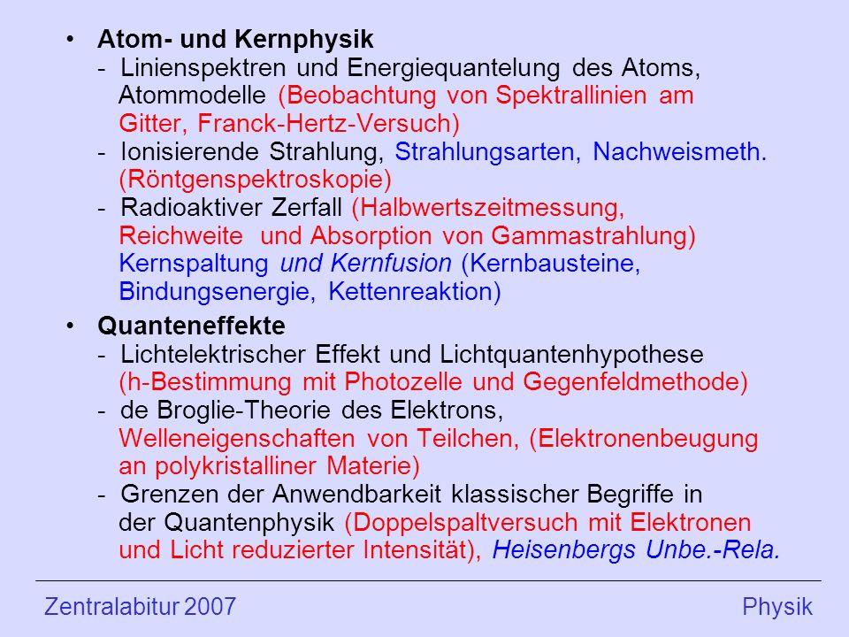 Atom- und Kernphysik - Linienspektren und Energiequantelung des Atoms, Atommodelle (Beobachtung von Spektrallinien am Gitter, Franck-Hertz-Versuch) - Ionisierende Strahlung, Strahlungsarten, Nachweismeth.