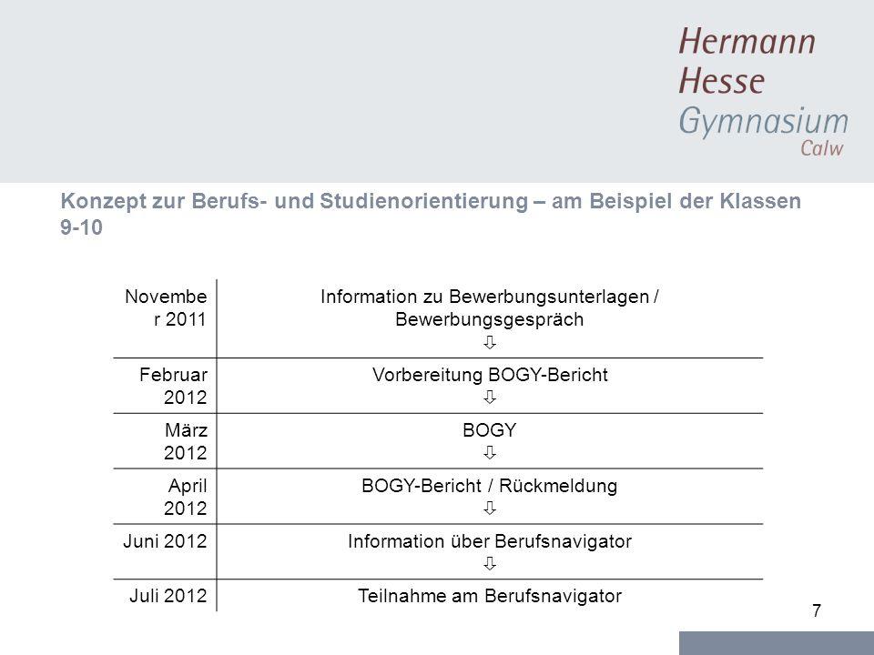 7 Konzept zur Berufs- und Studienorientierung – am Beispiel der Klassen 9-10 Novembe r 2011 Information zu Bewerbungsunterlagen / Bewerbungsgespräch F
