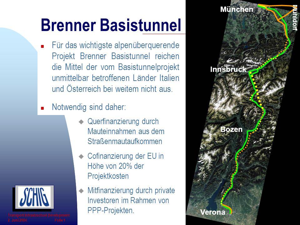 Bozen Verona München Innsbruck Mühldorf u Querfinanzierung durch Mauteinnahmen aus dem Straßenmautaufkommen u Cofinanzierung der EU in Höhe von 20% de