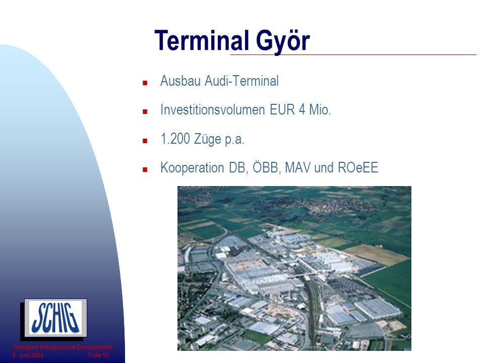 n Ausbau Audi-Terminal n Investitionsvolumen EUR 4 Mio. n 1.200 Züge p.a. n Kooperation DB, ÖBB, MAV und ROeEE Terminal Györ Transport Infrastructure