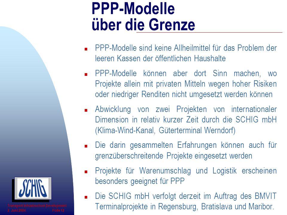 n PPP-Modelle sind keine Allheilmittel für das Problem der leeren Kassen der öffentlichen Haushalte n PPP-Modelle können aber dort Sinn machen, wo Pro