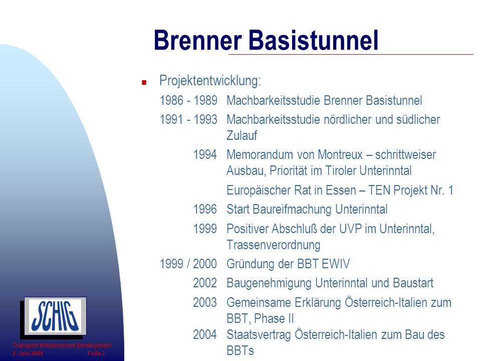 n Projektentwicklung: 1986 - 1989Machbarkeitsstudie Brenner Basistunnel 1991 - 1993Machbarkeitsstudie nördlicher und südlicher Zulauf 1994Memorandum v