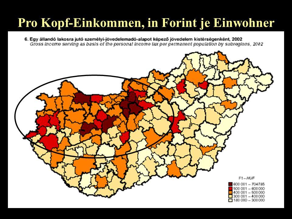 Pro Kopf-Einkommen, in Forint je Einwohner
