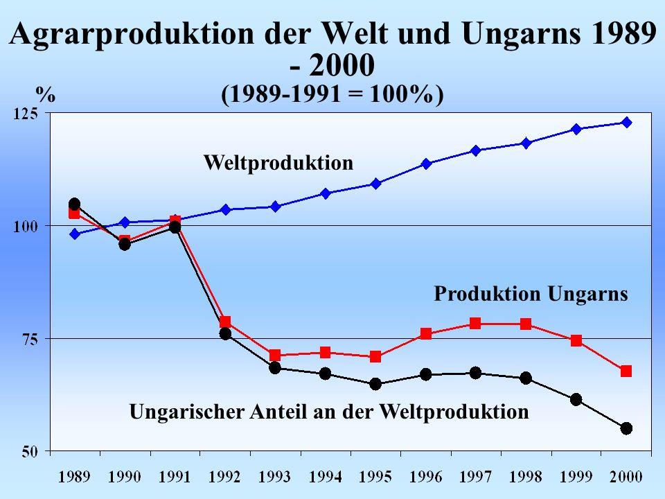 Agrarproduktion der Welt und Ungarns 1989 - 2000 (1989-1991 = 100%) % Weltproduktion Produktion Ungarns Ungarischer Anteil an der Weltproduktion