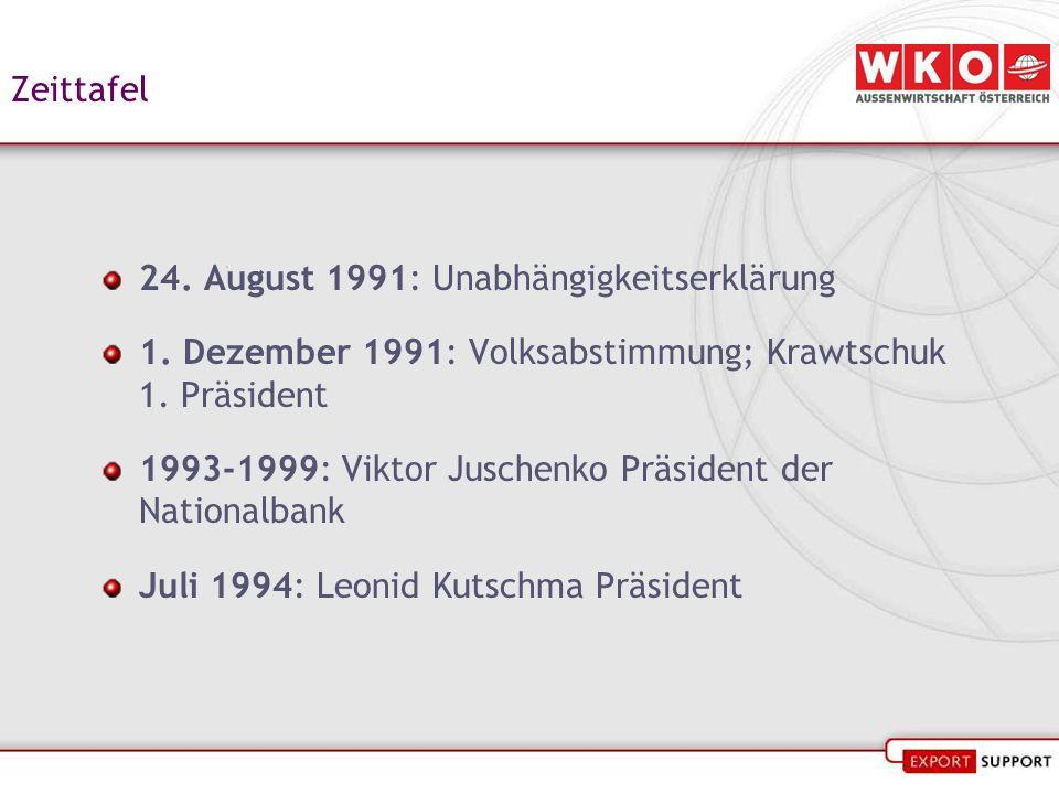 Zeittafel 24. August 1991: Unabhängigkeitserklärung 1. Dezember 1991: Volksabstimmung; Krawtschuk 1. Präsident 1993-1999: Viktor Juschenko Präsident d
