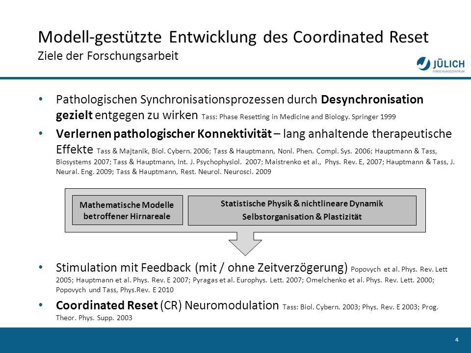 4 Pathologischen Synchronisationsprozessen durch Desynchronisation gezielt entgegen zu wirken Tass: Phase Resetting in Medicine and Biology. Springer