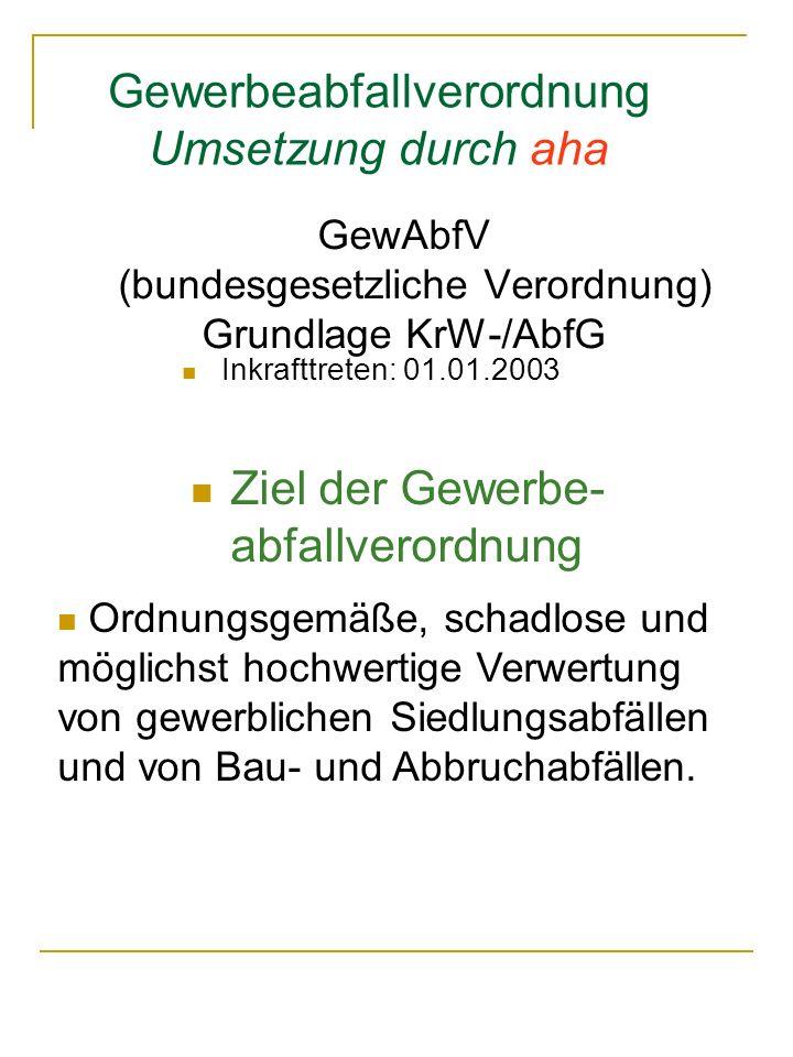 Gewerbeabfallverordnung Umsetzung durch aha GewAbfV (bundesgesetzliche Verordnung) Grundlage KrW-/AbfG Inkrafttreten: 01.01.2003 Ziel der Gewerbe- abf