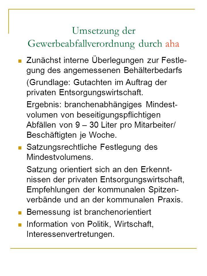 Umsetzung der Gewerbeabfallverordnung durch aha Zunächst interne Überlegungen zur Festle- gung des angemessenen Behälterbedarfs (Grundlage: Gutachten