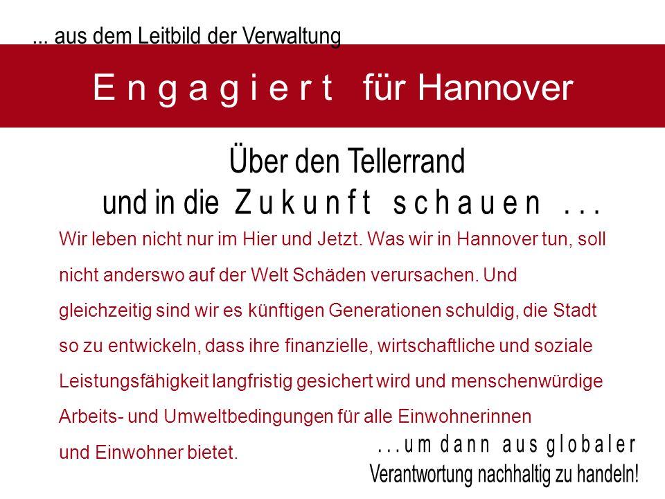 E n g a g i e r t für Hannover Wir leben nicht nur im Hier und Jetzt. Was wir in Hannover tun, soll nicht anderswo auf der Welt Schäden verursachen. U