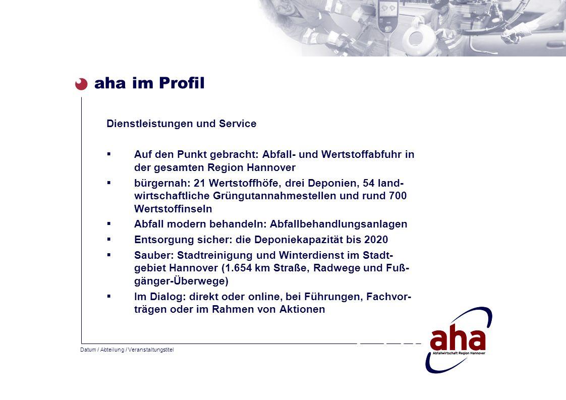 Datum / Abteilung / Veranstaltungstitel aha im Profil Dienstleistungen und Service Auf den Punkt gebracht: Abfall- und Wertstoffabfuhr in der gesamten