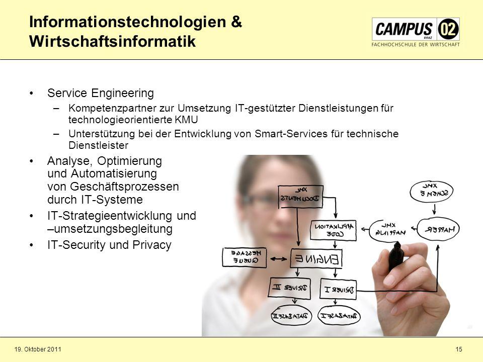 19. Oktober 201115 Informationstechnologien & Wirtschaftsinformatik Service Engineering –Kompetenzpartner zur Umsetzung IT-gestützter Dienstleistungen