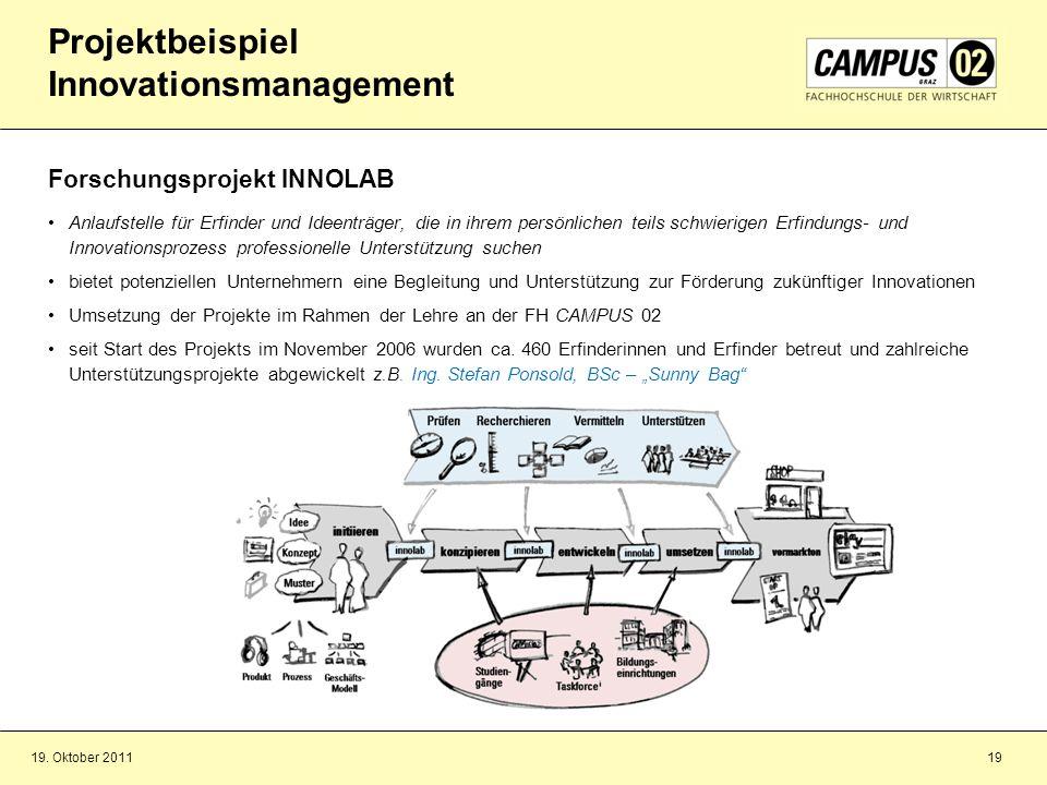 19. Oktober 201119 Projektbeispiel Innovationsmanagement Forschungsprojekt INNOLAB Anlaufstelle für Erfinder und Ideenträger, die in ihrem persönliche