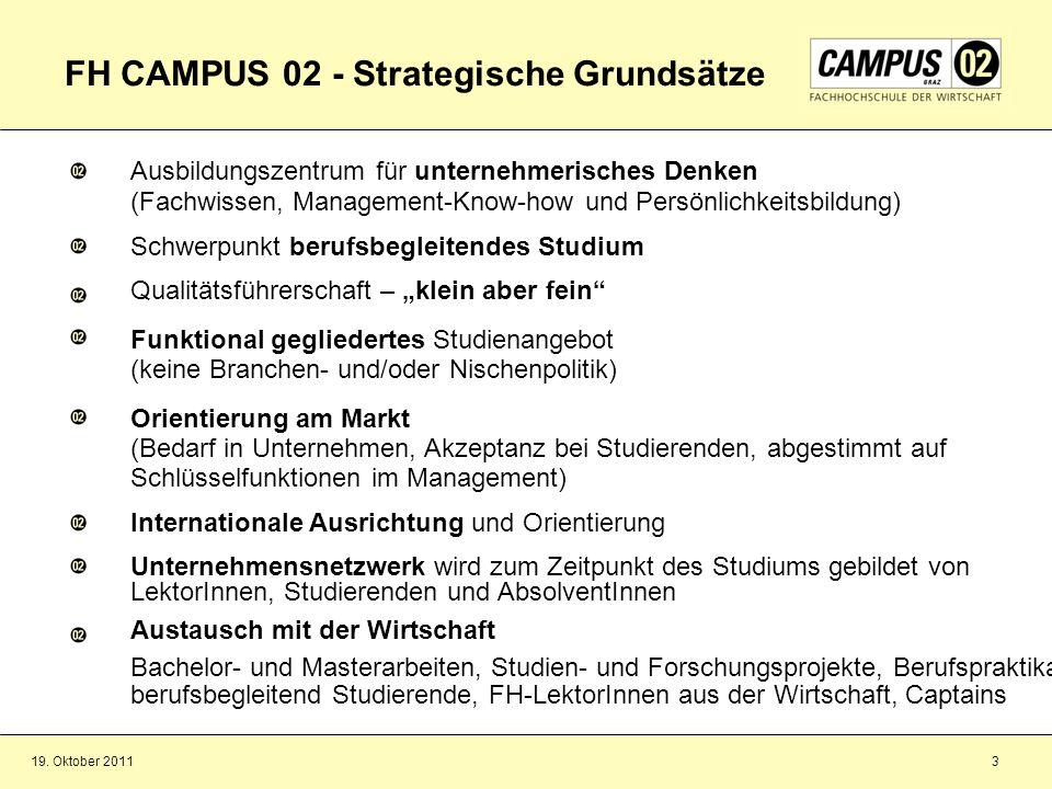 19. Oktober 20113 FH CAMPUS 02 - Strategische Grundsätze Ausbildungszentrum für unternehmerisches Denken (Fachwissen, Management-Know-how und Persönli