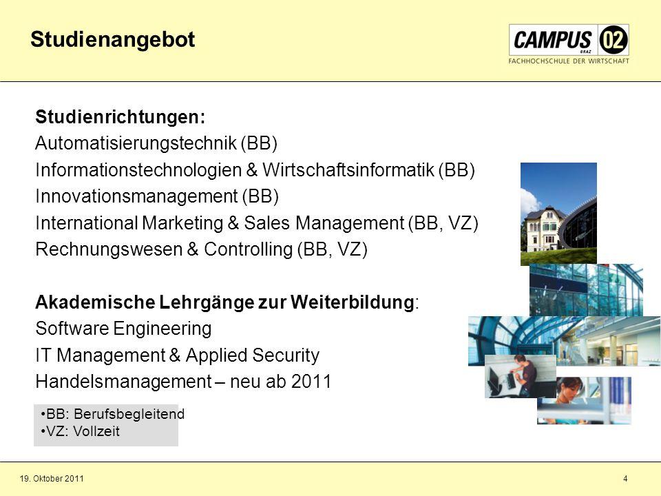 19. Oktober 20114 Studienrichtungen: Automatisierungstechnik (BB) Informationstechnologien & Wirtschaftsinformatik (BB) Innovationsmanagement (BB) Int