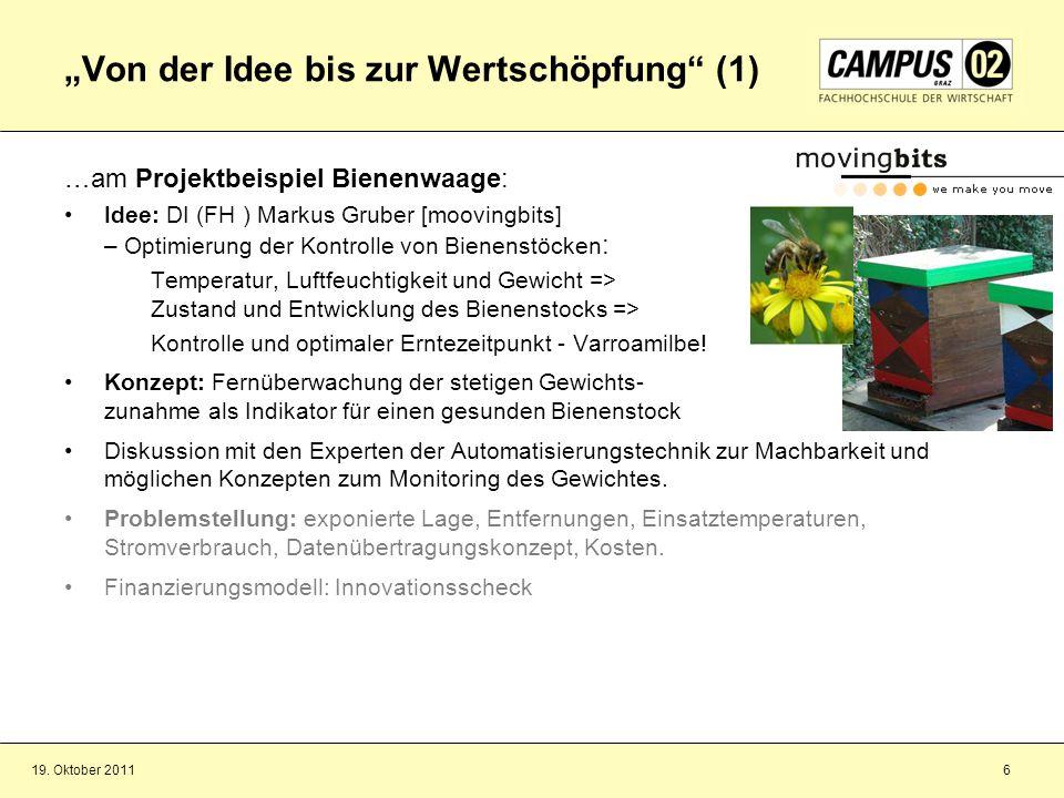 19. Oktober 20116 Von der Idee bis zur Wertschöpfung (1) …am Projektbeispiel Bienenwaage: Idee: DI (FH ) Markus Gruber [moovingbits] – Optimierung der