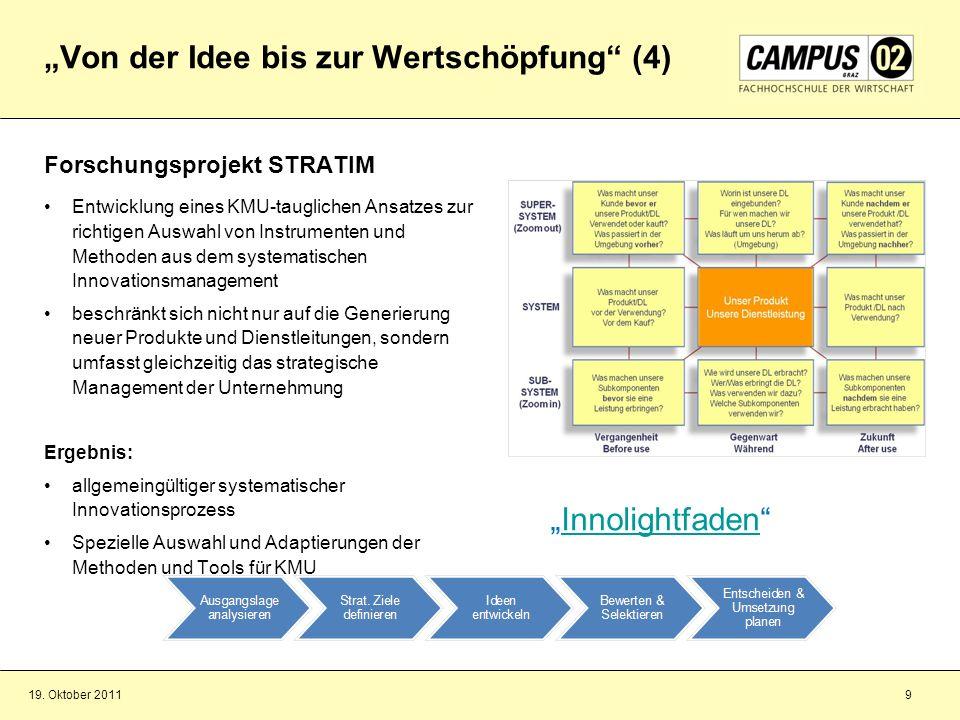 19. Oktober 20119 Von der Idee bis zur Wertschöpfung (4) Forschungsprojekt STRATIM Entwicklung eines KMU-tauglichen Ansatzes zur richtigen Auswahl von