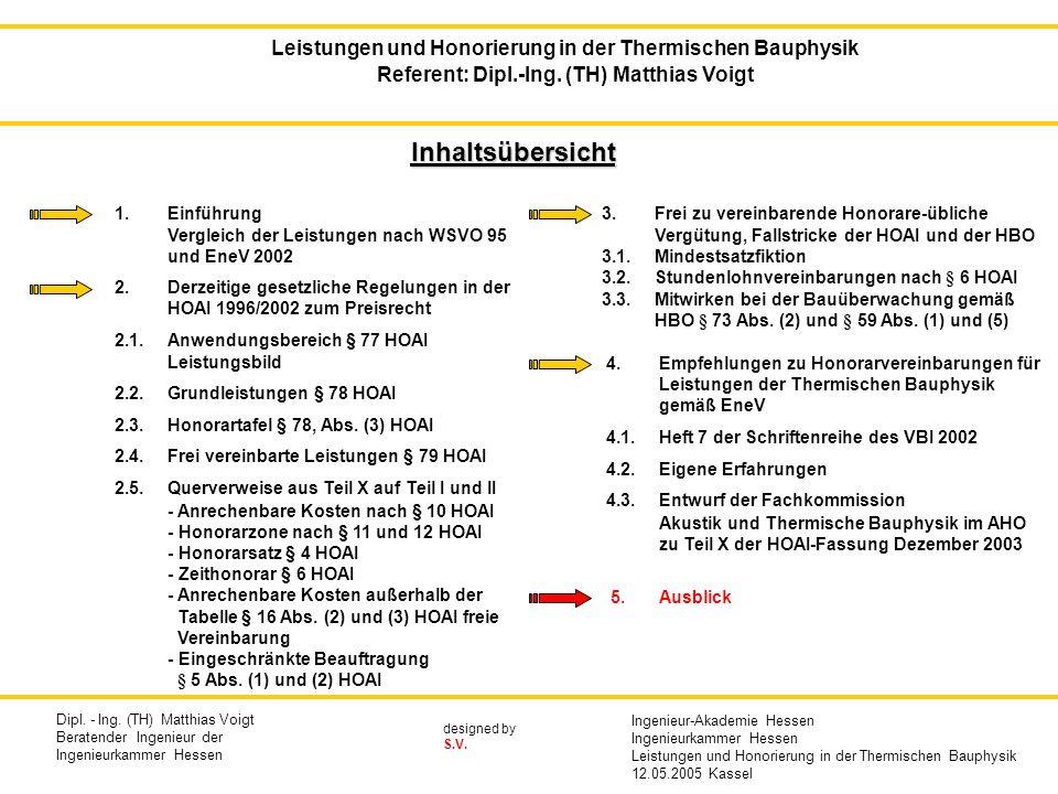 Inhaltsübersicht 1. Einführung Vergleich der Leistungen nach WSVO 95 und EneV 2002 2. Derzeitige gesetzliche Regelungen in der HOAI 1996/2002 zum Prei