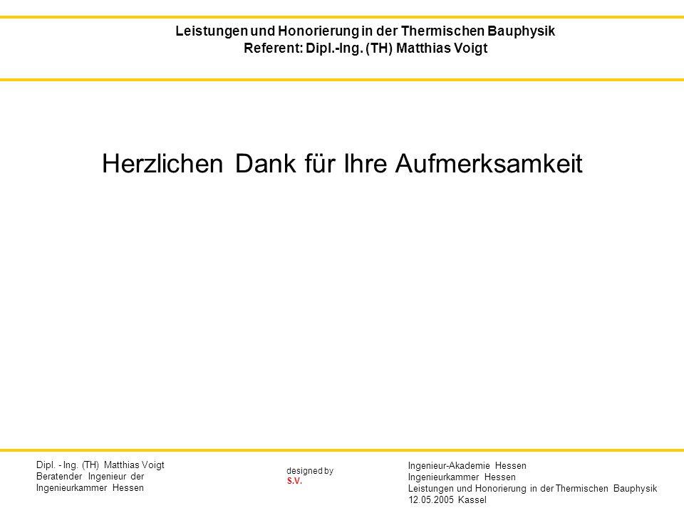 designed by S.V. Herzlichen Dank für Ihre Aufmerksamkeit Leistungen und Honorierung in der Thermischen Bauphysik Referent: Dipl.-Ing. (TH) Matthias Vo