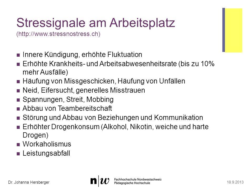 Dr. Johanna Hersberger Stressignale am Arbeitsplatz (http://www.stressnostress.ch) Innere Kündigung, erhöhte Fluktuation Erhöhte Krankheits- und Arbei