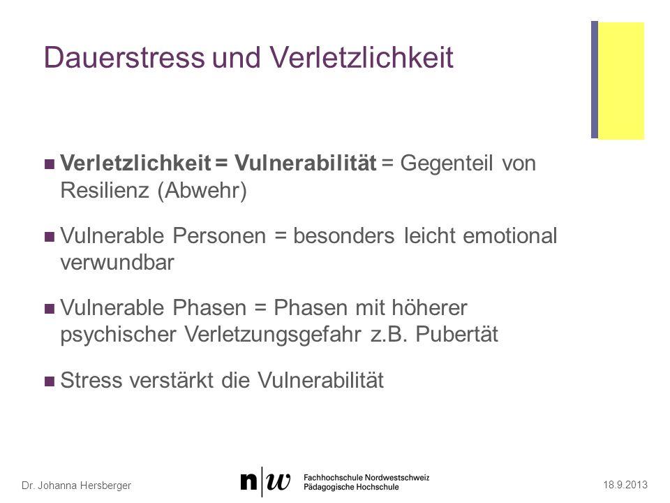 Dr. Johanna Hersberger Dauerstress und Verletzlichkeit Verletzlichkeit = Vulnerabilität = Gegenteil von Resilienz (Abwehr) Vulnerable Personen = beson