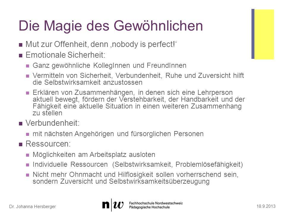 Dr.Johanna Hersberger Die Magie des Gewöhnlichen Mut zur Offenheit, denn nobody is perfect.