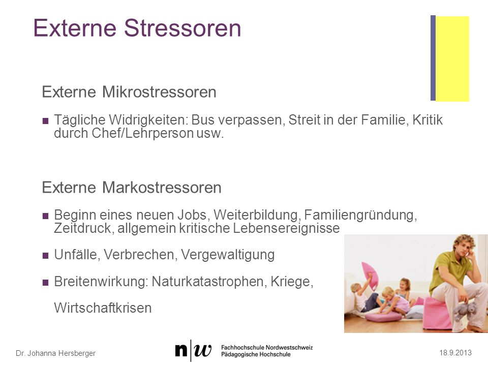Dr. Johanna Hersberger Externe Stressoren Externe Mikrostressoren Tägliche Widrigkeiten: Bus verpassen, Streit in der Familie, Kritik durch Chef/Lehrp