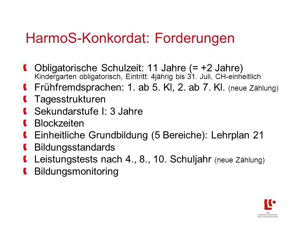 HarmoS-Konkordat: Forderungen Obligatorische Schulzeit: 11 Jahre (= +2 Jahre) Kindergarten obligatorisch, Eintritt: 4jährig bis 31.