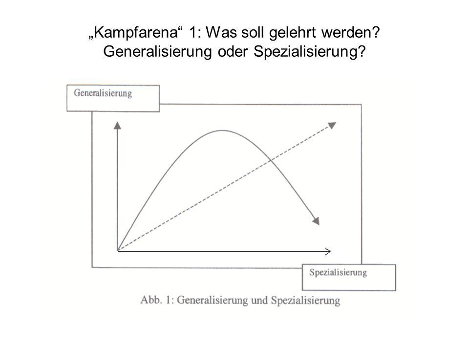 Kampfarena 1: Was soll gelehrt werden Generalisierung oder Spezialisierung