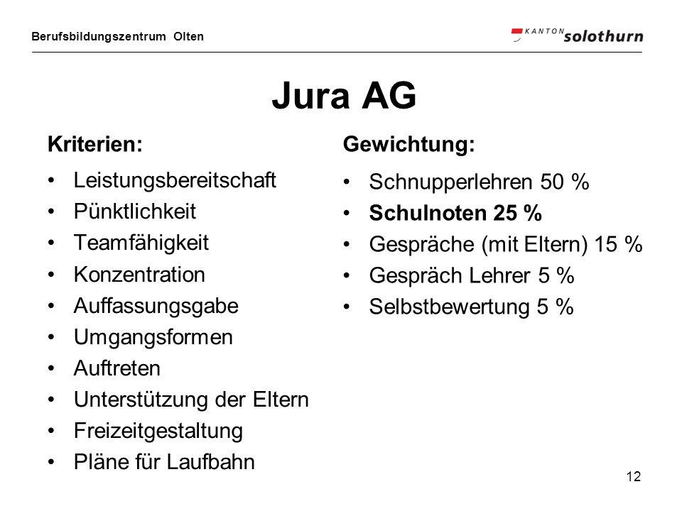 Berufsbildungszentrum Olten 12 Jura AG Leistungsbereitschaft Pünktlichkeit Teamfähigkeit Konzentration Auffassungsgabe Umgangsformen Auftreten Unterst