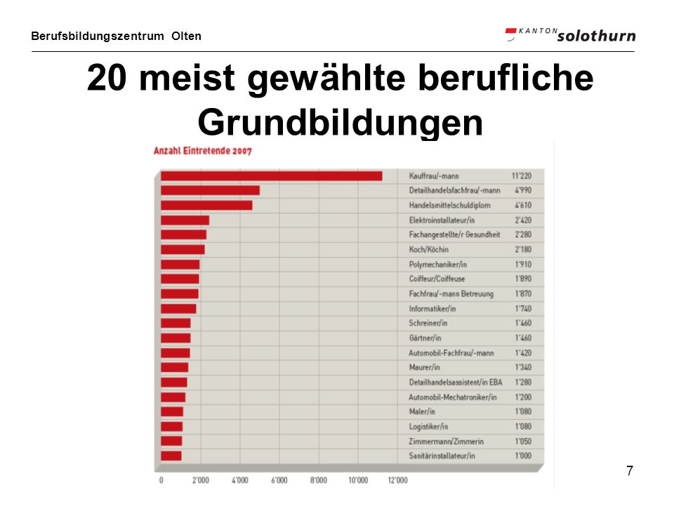 7 20 meist gewählte berufliche Grundbildungen