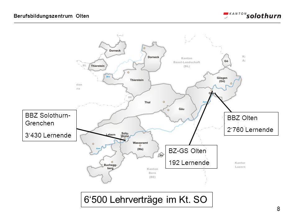 Berufsbildungszentrum Olten 8 6500 Lehrverträge im Kt. SO BZ-GS Olten 192 Lernende BBZ Olten 2760 Lernende BBZ Solothurn- Grenchen 3430 Lernende