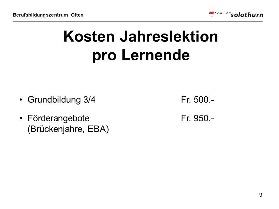 Berufsbildungszentrum Olten 9 Kosten Jahreslektion pro Lernende Grundbildung 3/4 Fr. 500.- Förderangebote Fr. 950.- (Brückenjahre, EBA)
